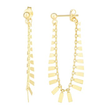 14K Gold Fancy Flapper Drop Earrings