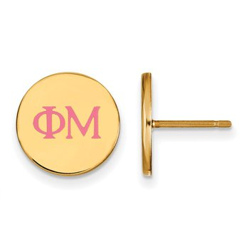 Gold-Plated Sterling Silver Phi Mu Greek Life Earrings