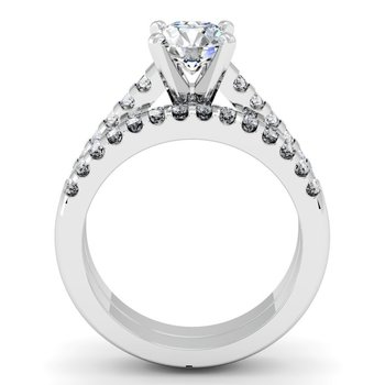 Cathedral Diamond Engagement Ring with Matching Wedding Band
