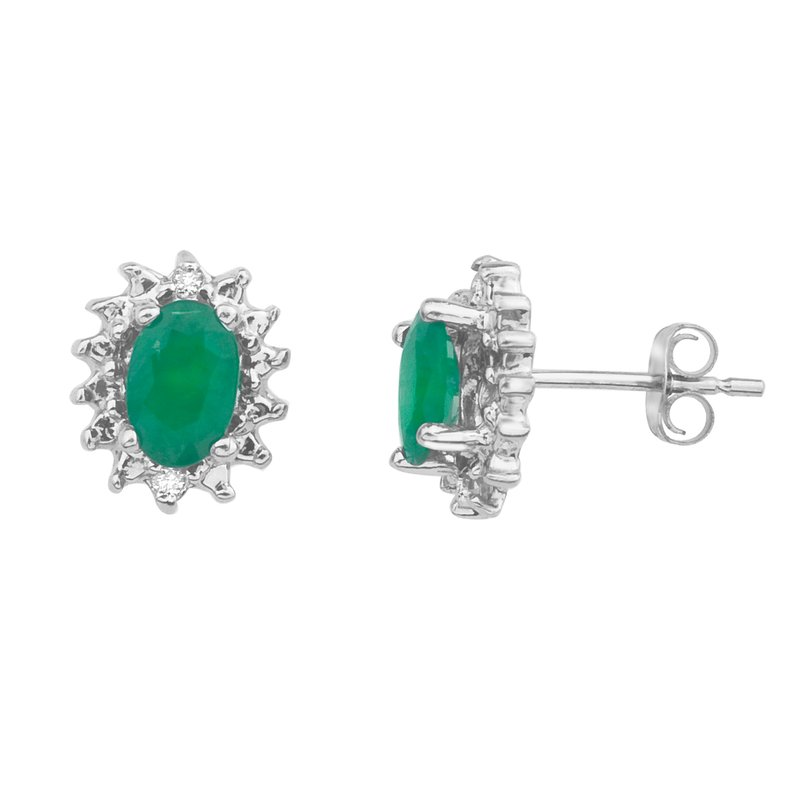 Color Merchants 10k White Gold Emerald and Diamond Earrings