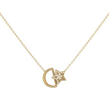 Starkissed Moon Necklace in 14 KT Yellow Gold Vermeil on Sterling Silver