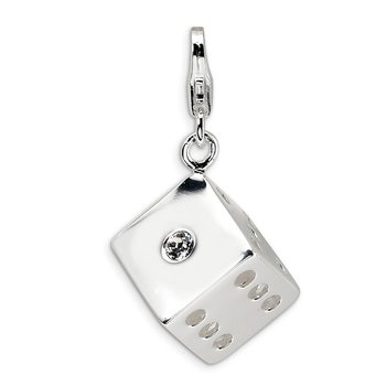Sterling Silver 3-D Swarovski Element Die w/Lobster Clasp Charm