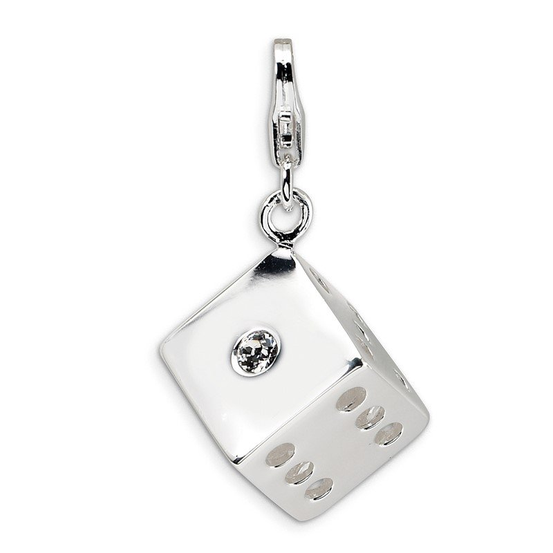 J.F. Kruse Signature Collection SS RH 3-D Swarovski Crystals Die w/Lobster Clasp Charm