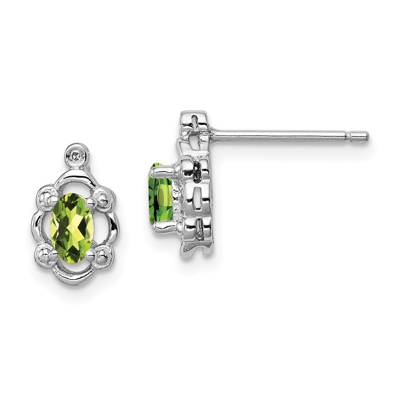 Quality Gold Sterling Silver Rhodium-plated Peridot & Diam. Earrings