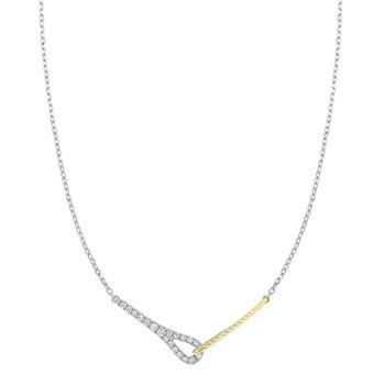 Diamond Twisted Interlocking Pendant Necklace in 14k Two-Tone Gold (1/5ctw)