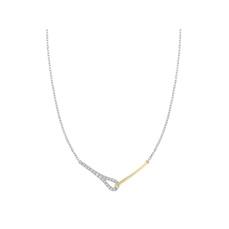 Gems One Diamond Twisted Interlocking Pendant Necklace in 14k Two-Tone Gold (1/5ctw)