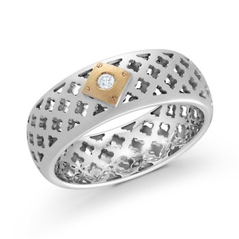 8mm two-tone white and yellow gold band, with a gorgeous 1X0.035CT diamond.