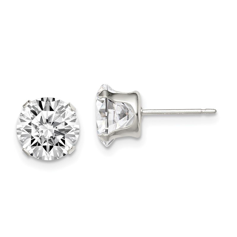 Quality Gold Sterling Silver 8mm Round Snap Set CZ Stud Earrings