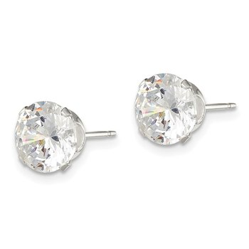 Sterling Silver 8mm Round Snap Set CZ Stud Earrings