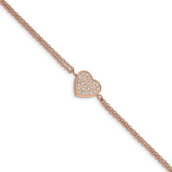 Stainless Steel Polished Rose IP with CZ Heart 6.25in w/2in ext. Bracelet