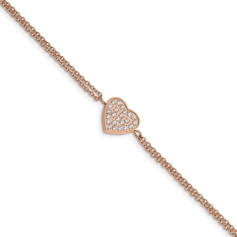 Chisel Stainless Steel Polished Rose IP with CZ Heart 6.25in w/2in ext. Bracelet