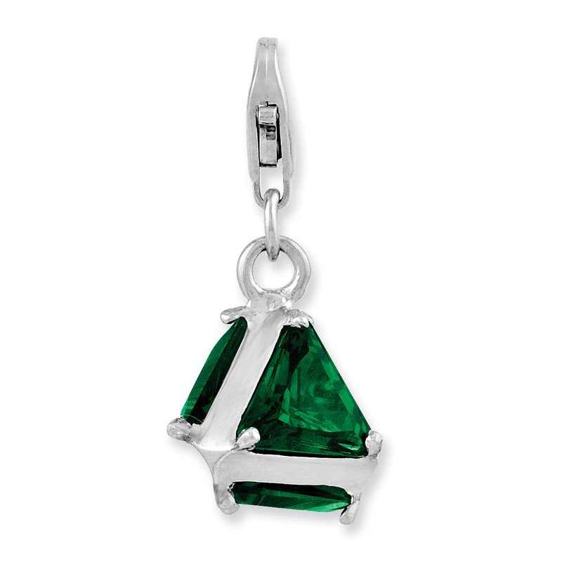 Quality Gold Sterling Silver Rhodium plated 3-D Green Glass w/Lobster Clasp Charm