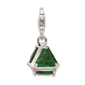 Sterling Silver Rhodium plated 3-D Green Glass w/Lobster Clasp Charm