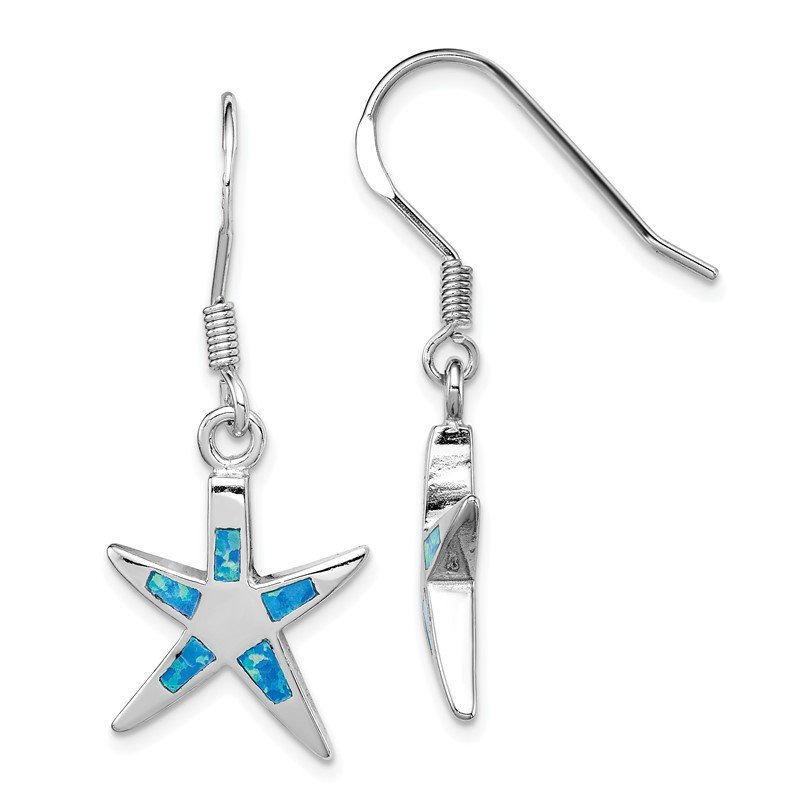 Quality Gold Sterling Silver Created Blue Opal Inlay Flat Starfish Dangle Earrings