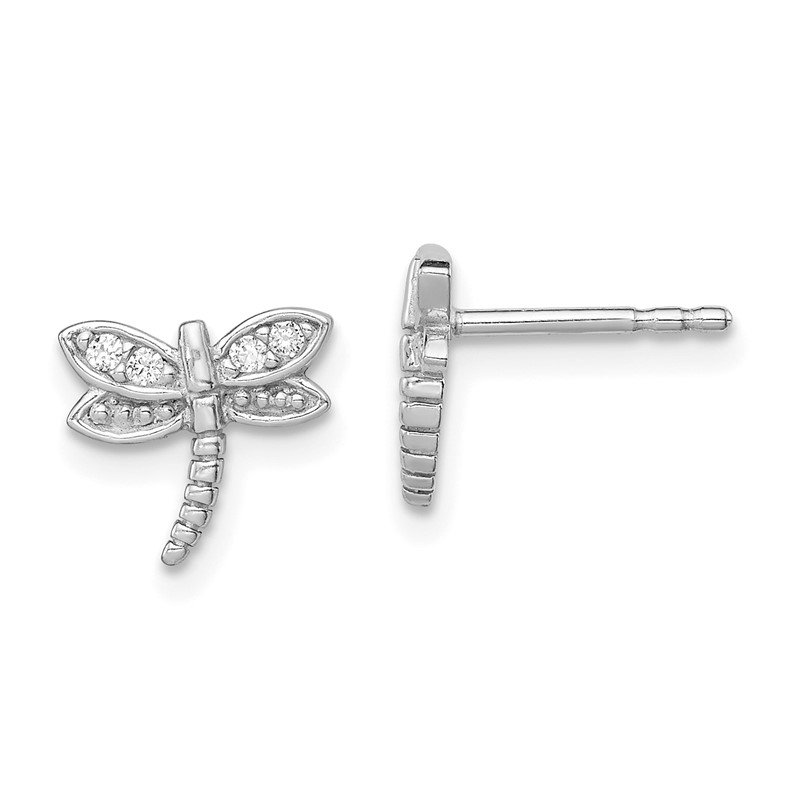 JC Sipe Essentials Sterling Silver Rhodium-plated CZ Dragonfly Post Earrings