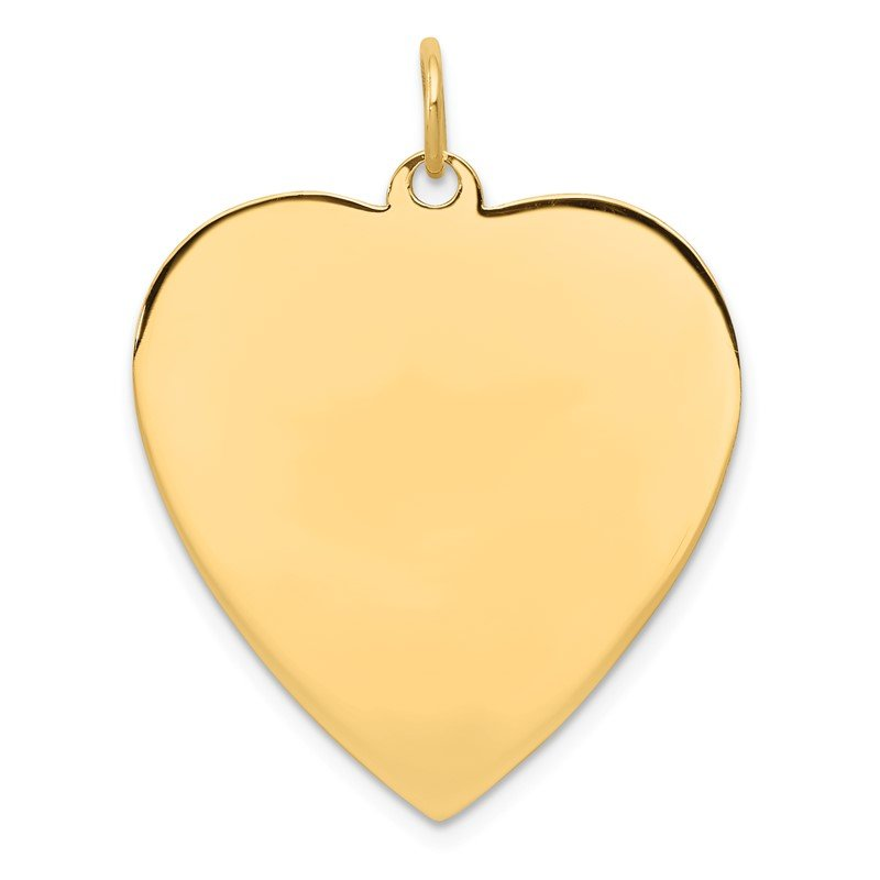 Quality Gold 14k Plain .027 Gauge Engravable Heart Disc Charm
