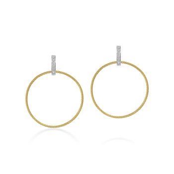Drop Circle Earrings with 18kt Gold & Diamonds