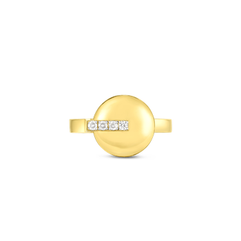 18KT GOLD DISC RING WITH DIAMONDS
