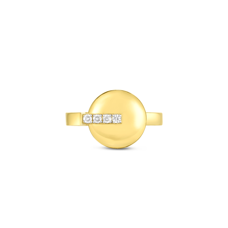 Roberto Coin 18Kt Gold Disc Ring With Diamonds