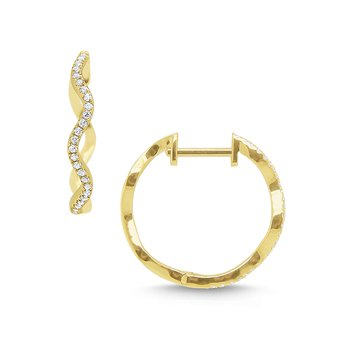 14k Gold and Diamond Wave Hoop Earrings