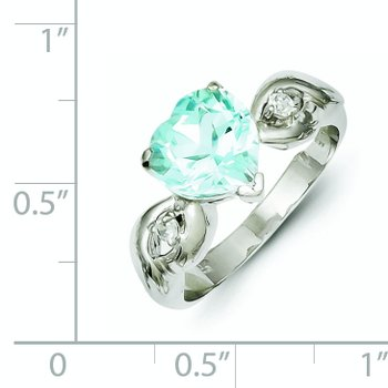 Sterling Silver Light Blue Gemstone Heart Ring