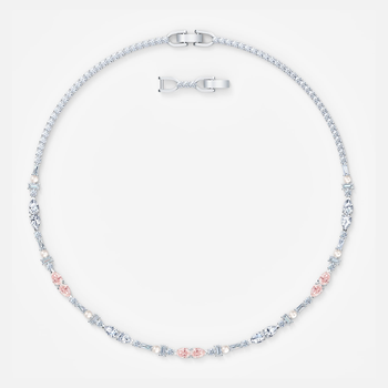 Perfection Chaton Necklace, Pink, Rhodium plated