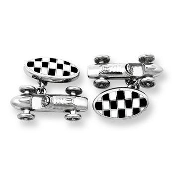Black Race Car Chain-link Cufflinks.Sterling Silver