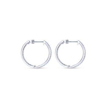 14K White Gold Tiger Claw Set 20mm Round Inside Out Diamond Hoop Earrings