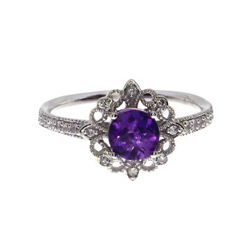 14k White Gold Round Amethyst Ring