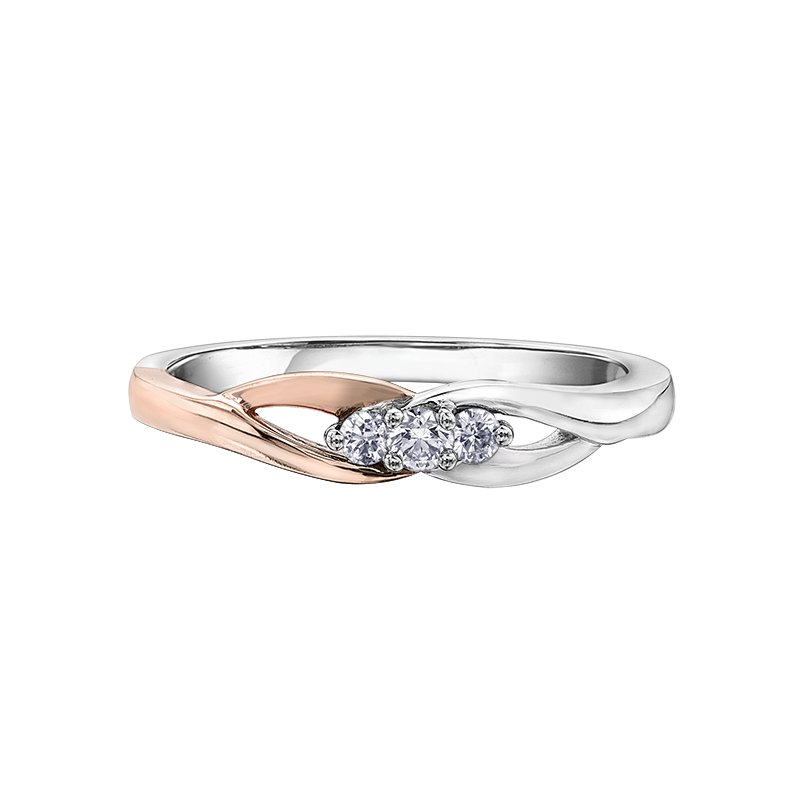 I Am Canadian Diamond Ladies Three Stone Ring