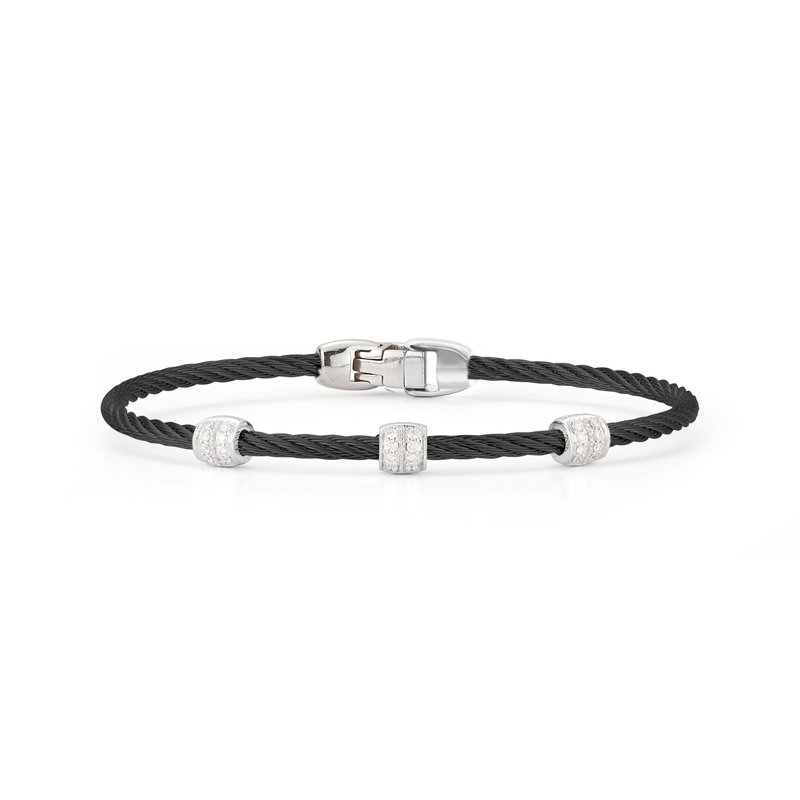 ALOR Black Cable Triple Station Stackable Bracelet with 18kt White Gold & Diamonds