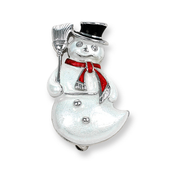 Sterling Silver Snowman Brooch-White