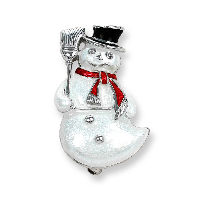 Nicole Barr Designs Sterling Silver Snowman Brooch-White