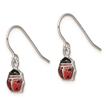 Sterling Silver Rhodium Enameled Ladybug Dangle Earrings