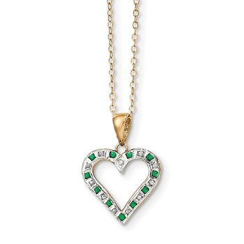Sterling Silver & Gold-plated Dia. & Emerald 18in Heart Necklace