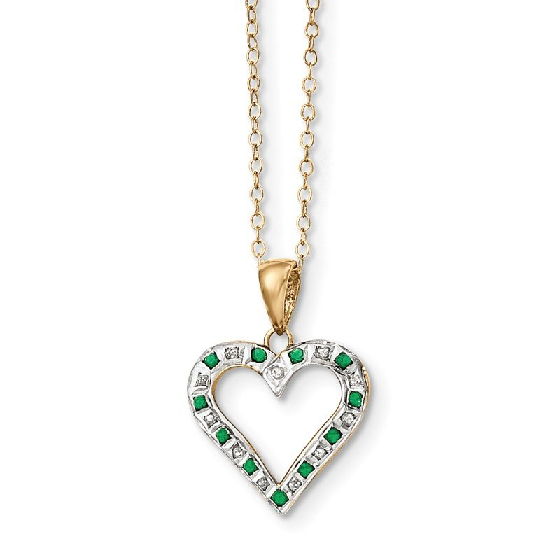 Quality Gold Sterling Silver & Gold-plated Dia. & Emerald 18in Heart Necklace