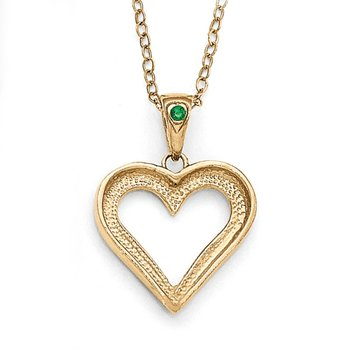 SS Diamond Mystique Gold-plated Dia/Emerald 18in Heart Necklace