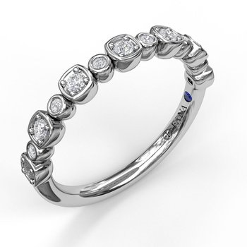 Alternating Cushion and Bezel Diamond Band