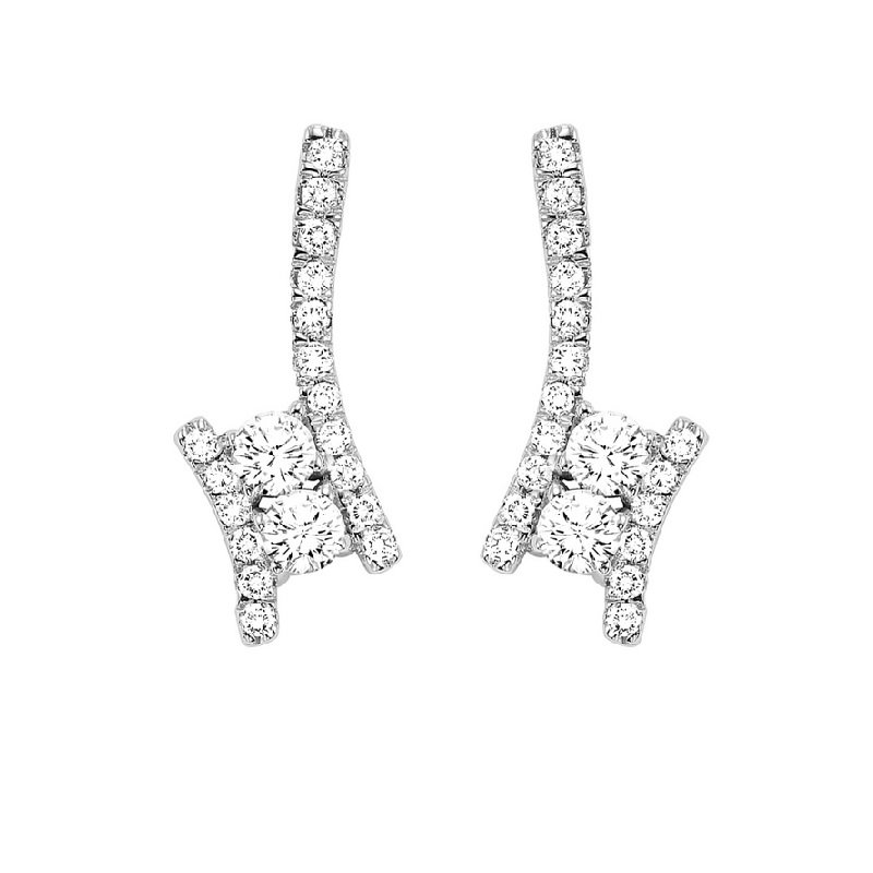 Gems One Twogether Diamond Drop Earrings in 14K White Gold (3/4 ct. tw.)