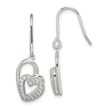 Sterling Silver Polished CZ Double Heart Shepherd Hook Earrings