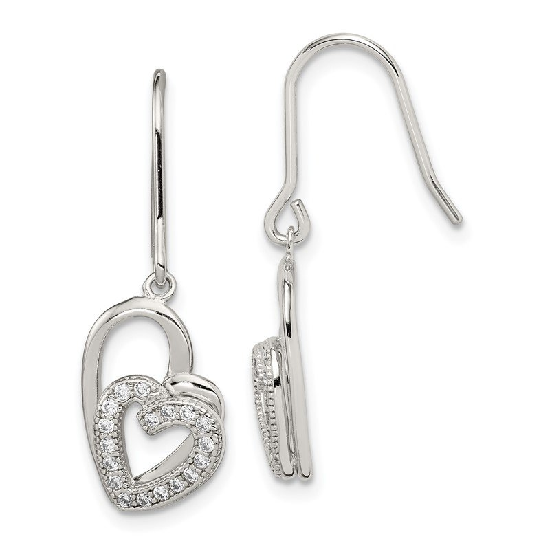 Quality Gold Sterling Silver Polished CZ Double Heart Shepherd Hook Earrings