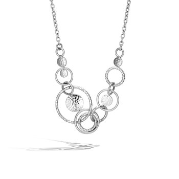 Dot Multi Link Necklace in Hammered Silver