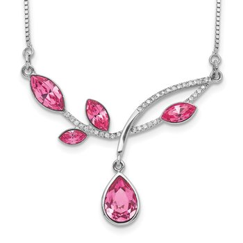 Sterling Silver RH-plated Pink Crystal Branch w/2in ext Necklace