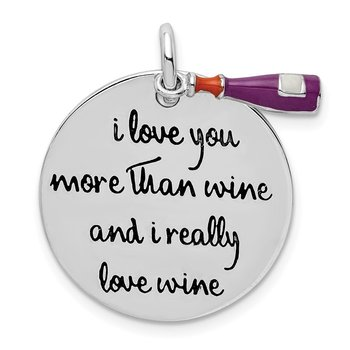 Sterling Silver Rhodium-plated Enameled Antiqued Love Wine Pendant