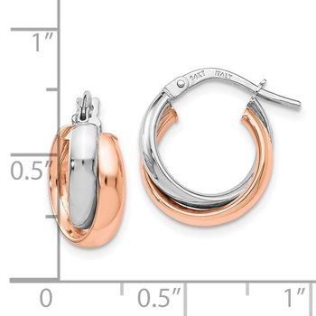 Leslie's 14k White Gold Rose-plated Polished Hoop Earrings
