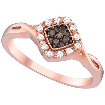 10kt Rose Gold Womens Round Cognac-brown Color Enhanced Diamond Cluster Ring 1/5 Cttw