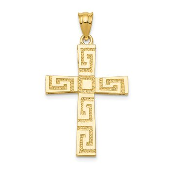 14K Greek Key Cross Pendant