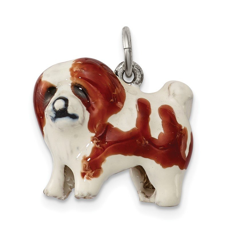 Quality Gold Sterling Silver Enameled Coton De Tulear Charm