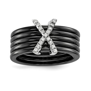 Sterling Silver & CZ Brilliant Embers Ceramic Bands Polished X Ring