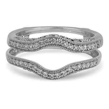 14K WG and diamond Insert curvy band for Engagement ring in pave and bezel setting